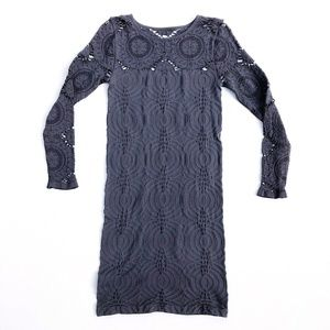 Bebe Gray Lace Long Sleeve Crew Neck Bodycon Dress